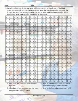 Grocery Shopping Alphabet Soup Worksheet