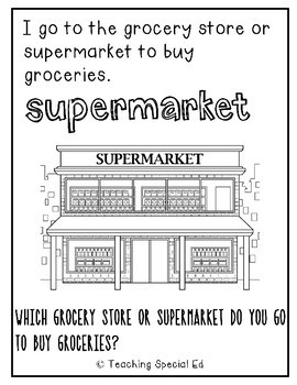 Grocery Shopping Coloring Book & Worksheets