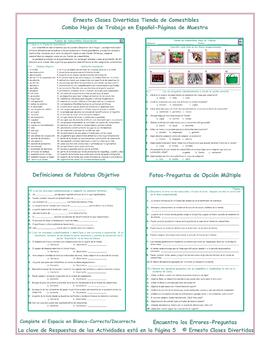 grocery shopping combo activities spanish worksheets tpt. Black Bedroom Furniture Sets. Home Design Ideas
