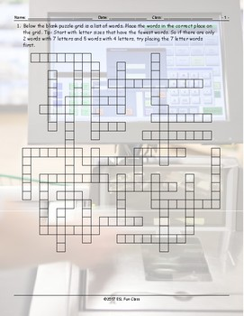 Grocery Shopping Framework Puzzle Worksheet
