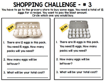 Grocery Shopping - Life Skills - Budget - Shopping Challenge - Money - Math