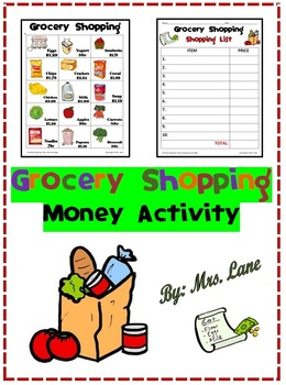Grocery Shopping Money Activity