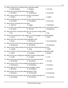 Grocery Shopping Multiple Choice Exam