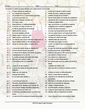 Grocery Shopping Sentence Match Spanish Worksheet