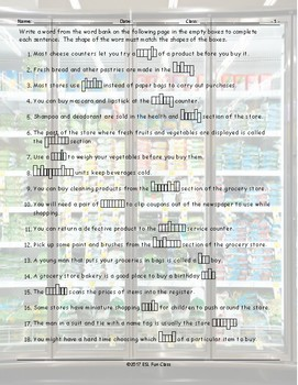 Grocery Shopping Sentence Shapes Worksheet