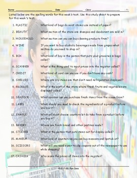 Grocery Shopping Study Sheet