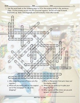 Grocery Shopping Word Fit Worksheet