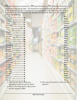 Grocery Shopping Word Links Worksheet
