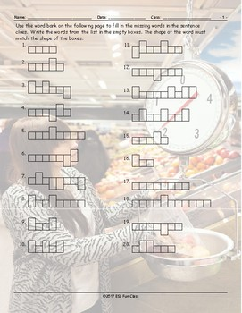 Grocery Shopping Word Shapes Worksheet