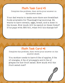Grocery Shopping for Thanksgiving Dinner: Multi-Step 3rd-5th Grade Task Cards
