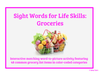 Grocery Sight Words for Life Skills: Match Word to Picture Activity Book