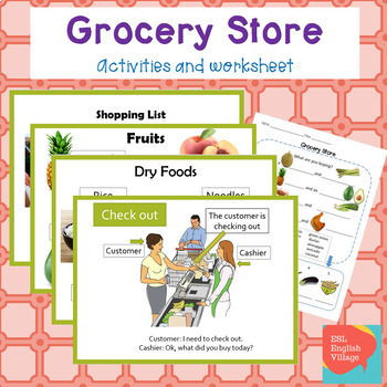 Grocery Store / Supermarket ESL food vocab, dialogue Powerpoint and worksheet