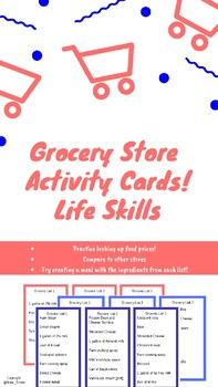 Grocery Store Activity Cards- Life Skill for Transitioning