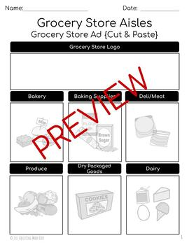 Grocery Store Ad Food Groups & Aisles {Cut & Paste}  - Life Skills