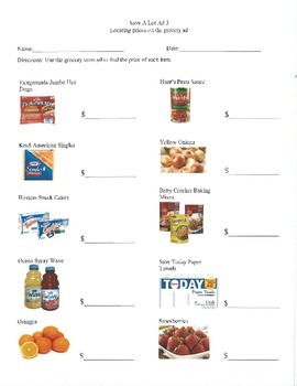 Grocery Store Ad- Special Education Money Math