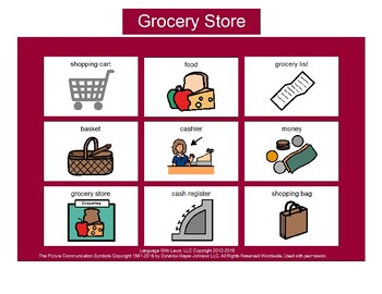 Grocery Store Bingo! Single Board [speech therapy and autism]