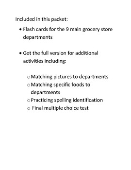 Grocery Store Departments Part 1 Vocabularly FREEBIE