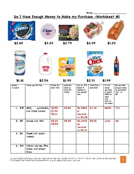 Grocery Store - Enough Money Worksheets - Everyday Life ...