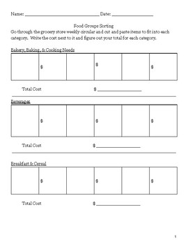 Grocery Store Flyer - Sorting Activity