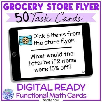 Grocery Store Flyer Task Cards- Functional Math for LIFE Skills