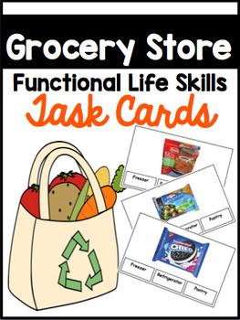 Grocery Store Functional Task Reading Cards with IEP Goals