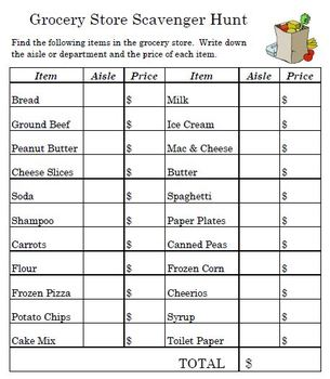 Grocery Scavenger Hunt by Empowered By THEM | Teachers Pay Teachers
