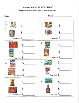 Grocery Store Math Ad- Special Education Money Math