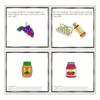 Grocery Store Math Money and Change from $5.00  Math Center Station