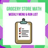 Grocery Store Math - Weekly Menu & Grocery Run List