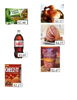Grocery Store Math Images- Addition and Subtraction with multiple numbers