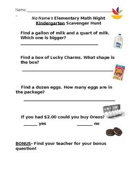 Grocery Store Math Scavenger Hunt- Kindergarten