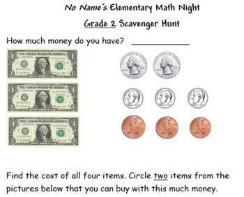 Grocery Store Math Scavenger Hunt- Second Grade