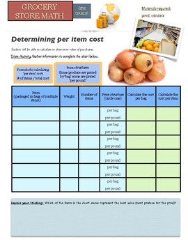 Grocery Store Math:  Unit Pricing