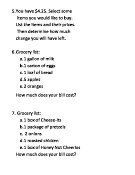 Grocery Store Math Word Problems- Addition and Subtraction with multiple numbers
