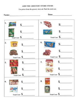 Grocery Store Menu Math Bundle Pack