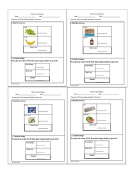 Grocery Store Menu Math- total cost and calculate change