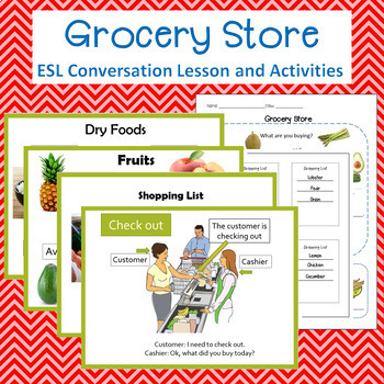 Grocery Store PP, worksheets, shopping lists and Smartboard activities bundle