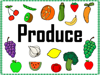 Grocery Store Produce Department Dramatic Play Signs