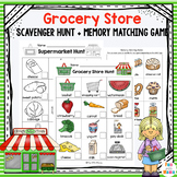 Grocery Store Scavenger Hunt and Supermarket Memory Matching Game