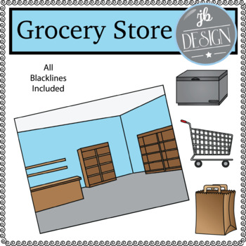 Grocery Store Scene (JB Design Clip Art for Personal or Commercial Use)