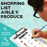 Grocery Store Shopping Lists: Fruit and Vegetables