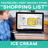 Special Education Grocery Store Shopping List: Ice Cream