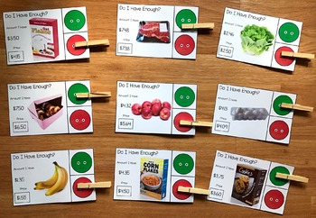 """Grocery Store Task Cards (W/Real Photos) :  """"Do I Have Enough Money?"""""""