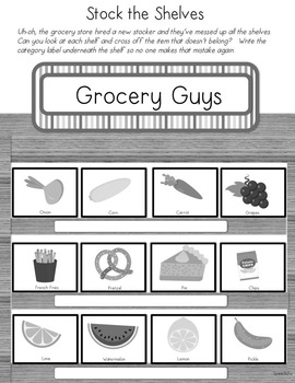 Grocery Theractivity: Speech therapy, categories, dramatic play