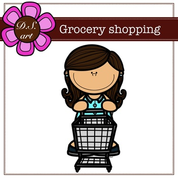 Grocery shopping Digital Clipart (color and black&white)