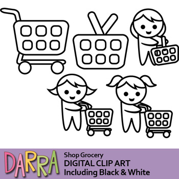 Grocery shopping clip art (planner clipart, shopping cart)