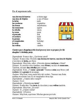 Comprando Comestibles en el Supermercado Lectura ~ Food Sh