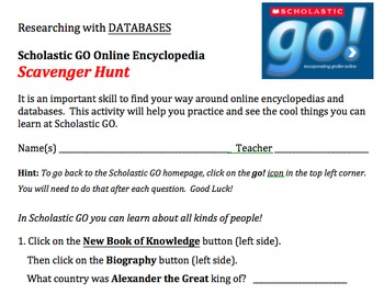 Scholastic GO Online Encyclopedia Scavenger Hunt Activity