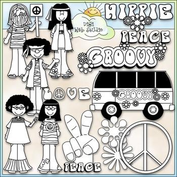 Groovy 60's Clip Art - Hippie Clip Art - Peace Sign - CU Clip Art & B&W