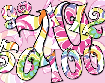 """Groovy! 70's-Inspired Numbers 1-100, 3""""H - 300 DPI, 100 page PDF and PNGs"""